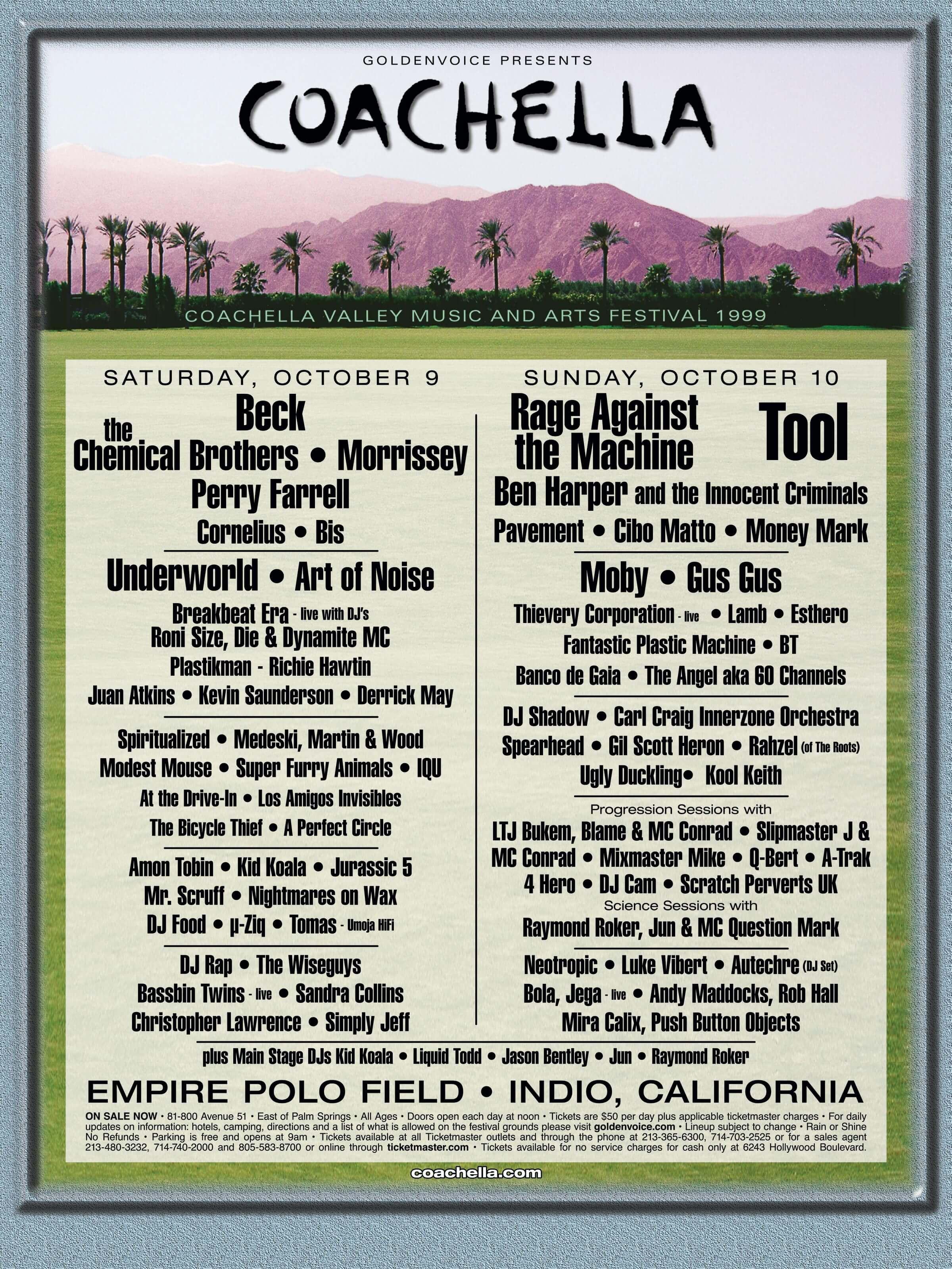 Coachella 1999 Lineup Poster
