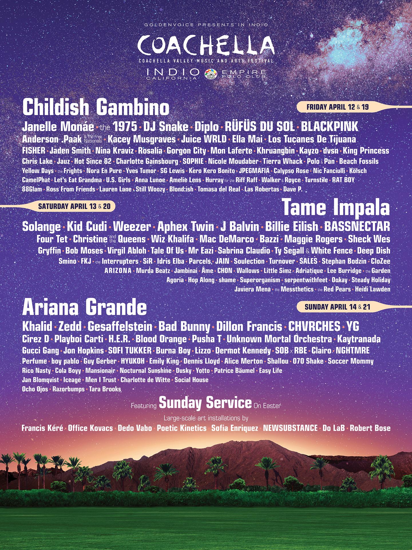 Coachella Festival 2020.Coachella 2019 Lineup Coachella